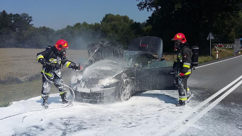 Pożar samochodu osobowego w Okocimiu