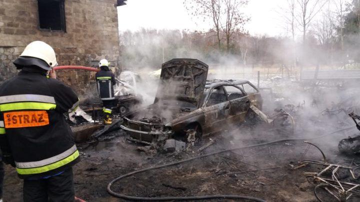 Pożar garażu w Maszkienicach [ZDJĘCIA]